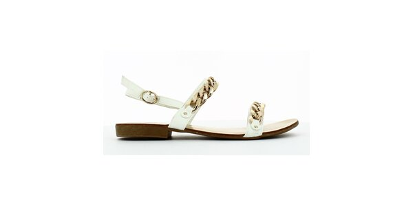 Dámske biele sandálky so zlatou retiazkou Shoes and the City