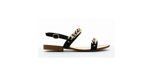 Dámske čierne sandálky so zlatou retiazkou Shoes and the City