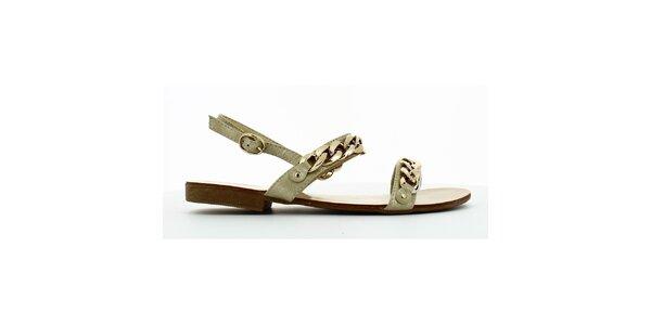 Dámske trblietavé sandálky so zlatou retiazkou Shoes and the City