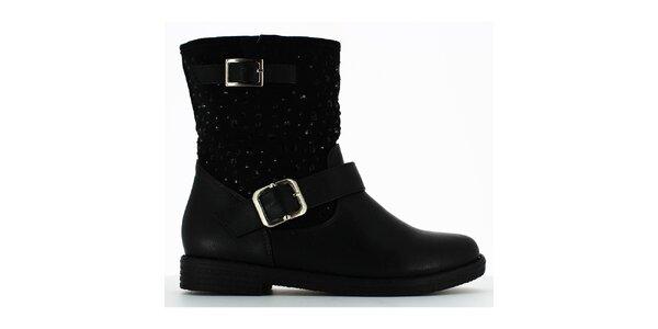 Dámske čierne členkové topánky s kamienkami Shoes and the City