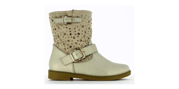 Dámske bielo-béžové členkové topánky s kamienkami Shoes and the City