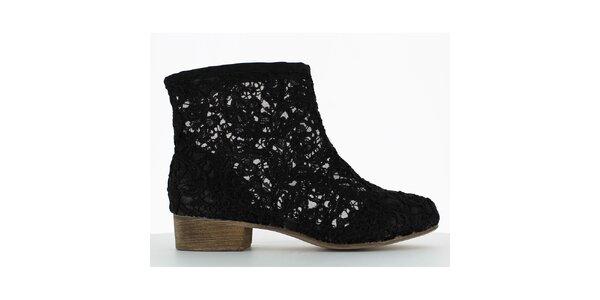 Dámske čierne čipkové členkové topánky Shoes and the City