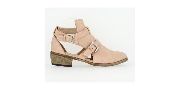 Dámske svetlo ružové topánky s prestrihmi Shoes and the City