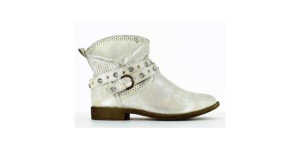 Dámske strieborné členkové topánky s perforáciou a kamienkami Shoes and the City