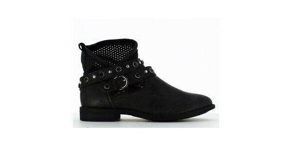 Dámske čierne členkové topánky s perforáciou a kamienkami Shoes and the City