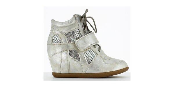 Dámske strieborné tenisky na kline Shoes and the City