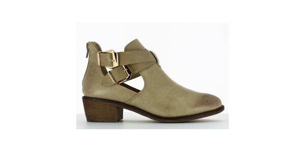 Dámske béžové topánky s prestrihmi a dvomi prackami Shoes and the City