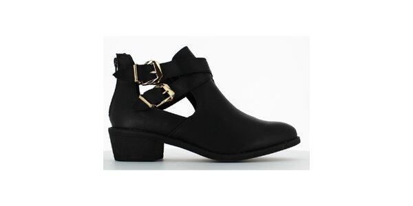 Dámske čierne topánky s prestrihmi a dvomi prackami Shoes and the City