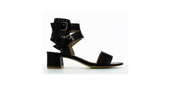 Dámske čierne perforované sandálky Shoes and the City