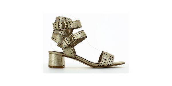 Dámske zlaté perforované sandálky Shoes and the City