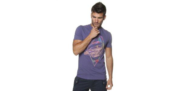 Pánske fialové tričko Unitryb s potlačou