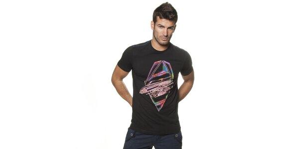 Pánske čierne tričko Unitryb s potlačou