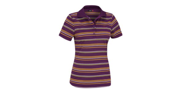 Dámske funkčné pruhované polo tričko Maier fialové