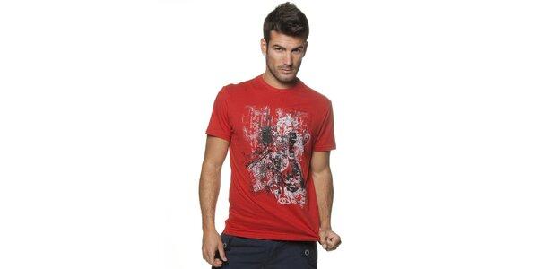 Pánske červené tričko Unitryb s potlačou