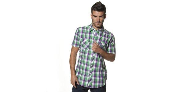 Pánska fialovo-zelená kockovaná košeľa Unitryb