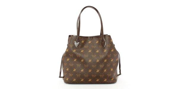 Dámska hnedá kabelka so vzorom koníkov Beverly Hills Polo Club