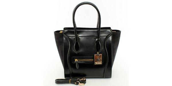 Dámska čierna kabelka so zlatými detailmi Beverly Hills Polo Club