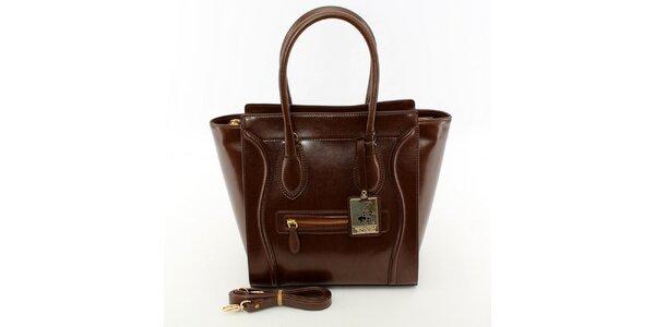 Dámska čokoládová kabelka so zlatými detailmi Beverly Hills Polo Club