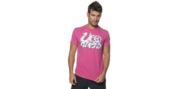 Pánske ružové tričko Unitryb s potlačou