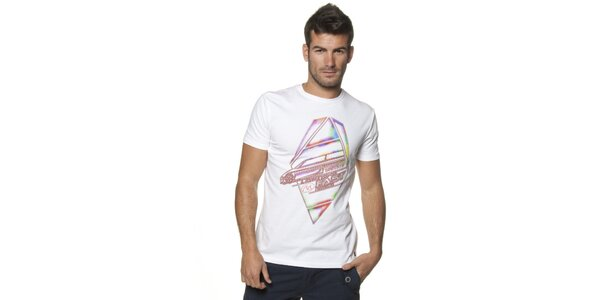 Pánske biele tričko Unitryb s potlačou