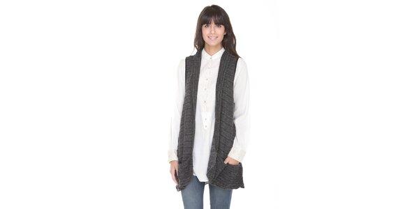 Dlhý antracitový sveter bez rukávov Peace&Love
