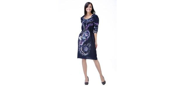 Modré vzorované šaty s naberanými rukávmi Peace&Love