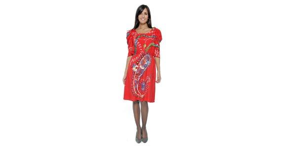 Korálové vzorované šaty s naberanými rukávmi Peace&Love