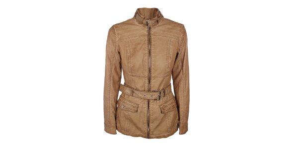 Dámska svetlo hnedá bunda s opáskom Company&Co