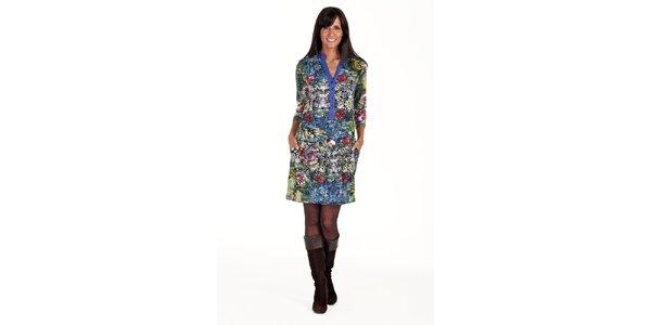 Batikované šaty s gombíkmi Peace&Love