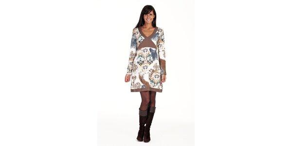 Hnedo-béžové šaty so vzorom Peace&Love