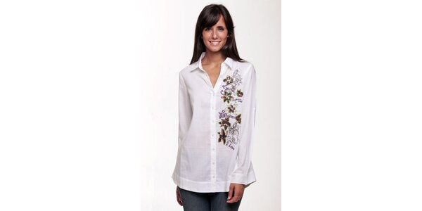 Biela košeľa so vzorom Peace&Love