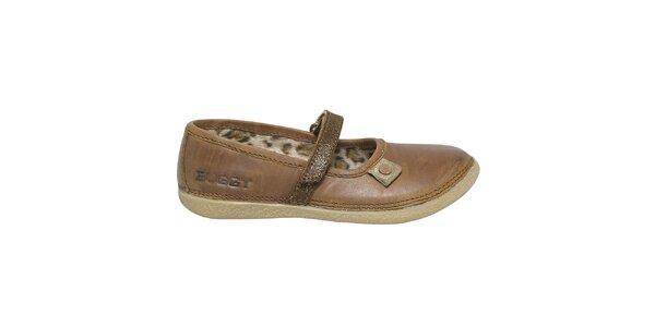 Dámske hnedé kožené topánky s remienkom Buggy