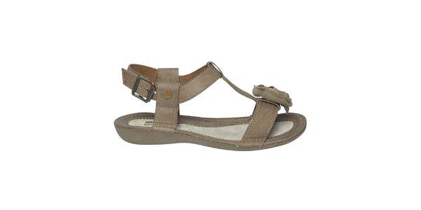 Dámske hnedé sandále s kvetinkou Buggy