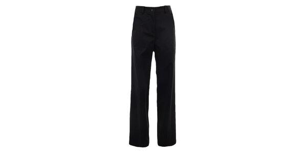 Dámske široké čierne nohavíce s pukmi Gene