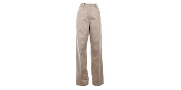 Dámske široké béžové nohavíce s pukmi Gene