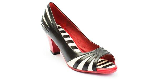 Dámske čierno-bielo-červené lodičky s otvorenou špičkou Lola Ramona