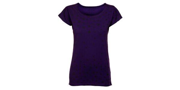Dámske purpurové tričko Exe Jeans s čiernymi hviezdičkami