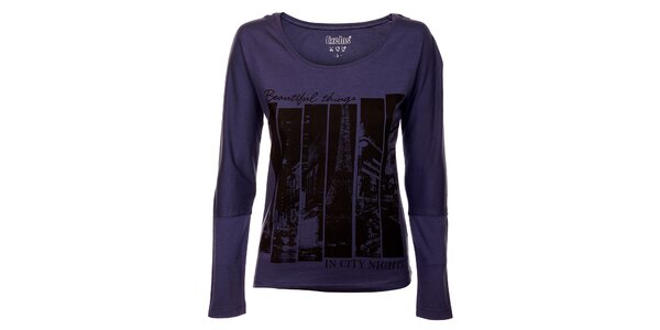 Dámske fialové tričko Exe Jeans s čiernou potlačou