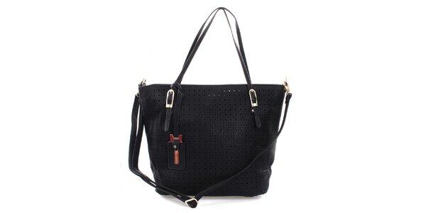 Dámska čierna kabelka s perforáciou Bessie