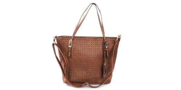 Dámska hnedá kabelka s perforáciou Bessie
