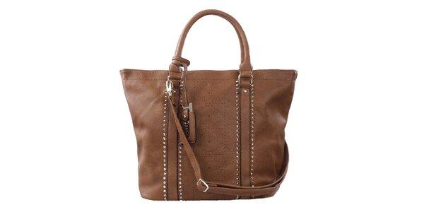 Dámska hnedá veľká kabelka s perforáciou a cvokmi Bessie