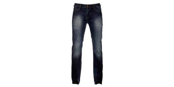 Pánske tmavo modré džínsy Exe Jeans s ozdobným zipsom