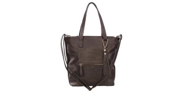 Dámska hnedá priestorná kabelka so strapcami Bessie