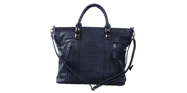 Dámska tmavo modrá kabelka s ozdobnými zipsami a cvokmi Bessie