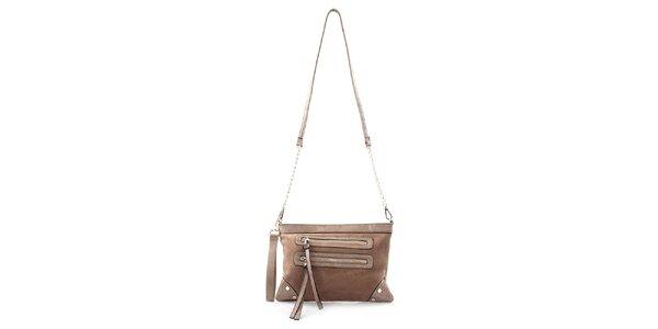 Dámska menšia béžová kabelka Bessie s retiazkou