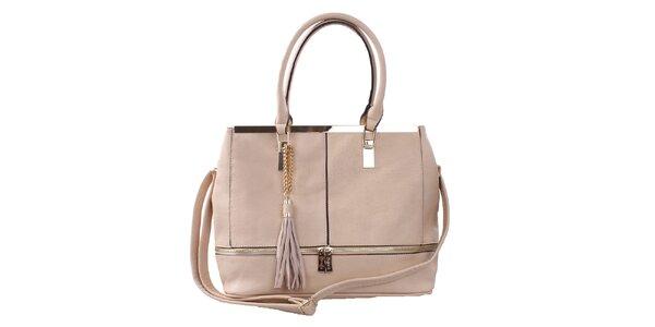 Dámska béžová kabelka so zlatými ozdobami Bessie