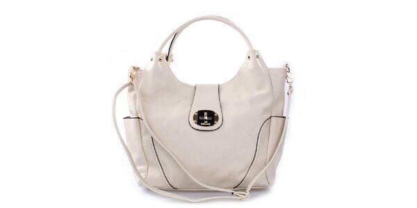 Dámska smotanová kabelka Bessie so zámkom