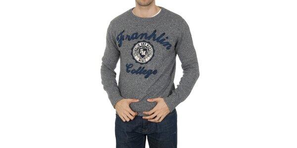 Pánsky šedý svetrík s nášivkami Franklin & Marshall