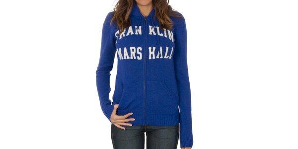 Dámsky modrý sveter na zips Franklin & Marshall