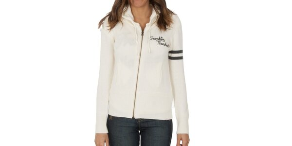 Dámsky biely sveter na zips Franklin & Marshall